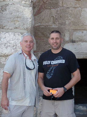 Jim Hartnett, left, director of community-wide security for the Jewish Federation of Cleveland, and Capt. Gary Haba of the Beachwood Police Department enjoy the sites of Bethlehem.